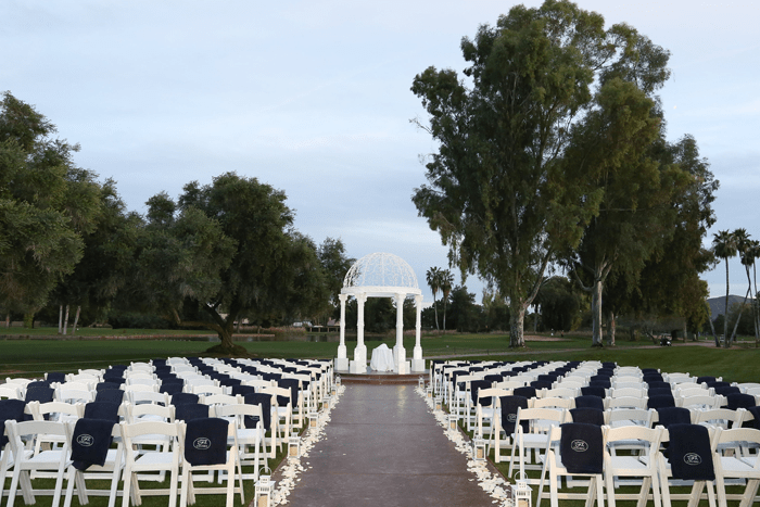 View of a wedding ceremony space at Orange Tree Golf Club